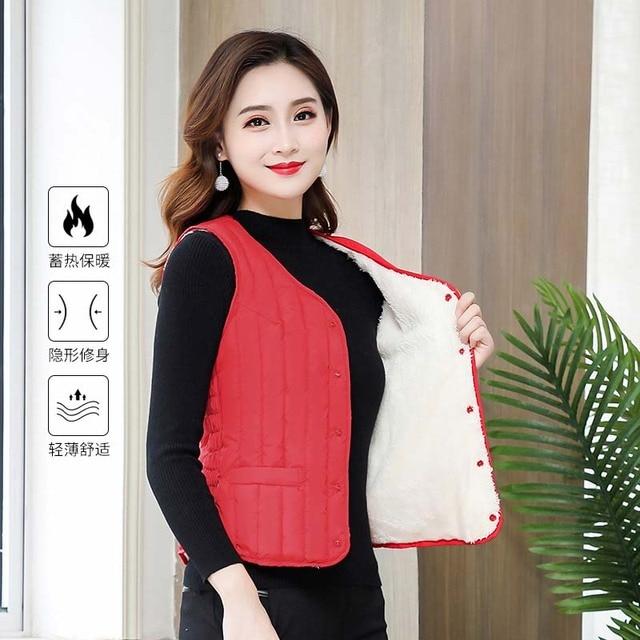 Women Sleeveless Vest Winter Warm Plus Size 4XL Down Cotton Padded Jacket villus Female Veats Slim fit Sleeveless Waistcoat 713 3
