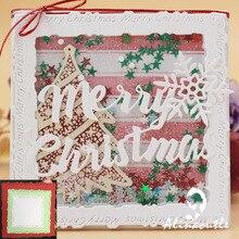 Высечки металла высечки Рождество край квадратная рамка Скрапбукинг Бумага Ремесло ручной работы карты удар художественный резак Alinacutle