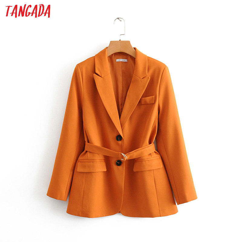 Tangada Fashion Woman Solid Blazer With Belt Long Sleeve Pocket Lady Suit Coat With Belt Female Retro Casual Tops DA43