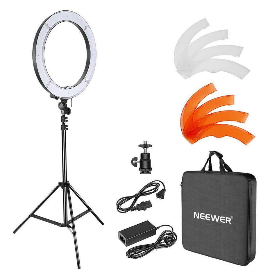 Neewer Camera Photo Studio YouTube Video Lighting Kit: 18''/48cm 55W  Dimmable LED SMD Ring Light with Color Filter+Light Stand Photographic  Lighting  - AliExpress
