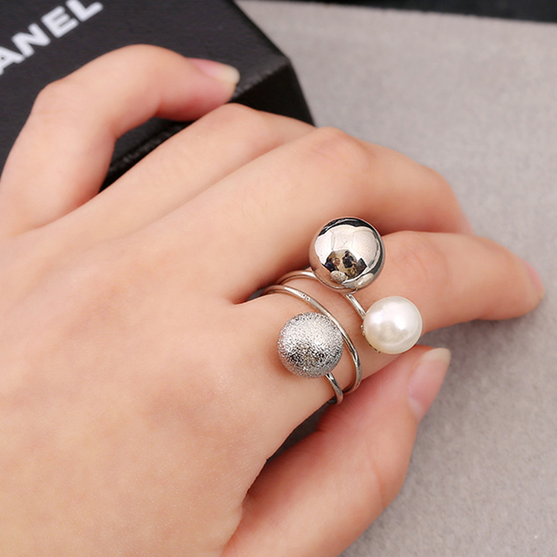 Women's Adjustable Ring Gold Color Metal Round Multi-ring Fashion Stainless Female Wedding Luxury Female Open Rings Jewelry RF1