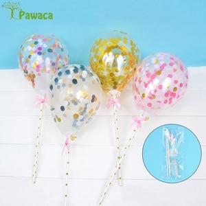 Image 3 - 10/5 adet 5 inç Mini konfeti lateks balonlar için saman ile doğum günü düğün parti kek Topper süslemeleri bebek duş malzemeleri
