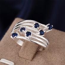 Anillos de cristal de moda para mujer, joyería de Color plateado, azul, rojo, Morado, seis Zirconia, oferta especial, precio de fábrica, regalo al por mayor