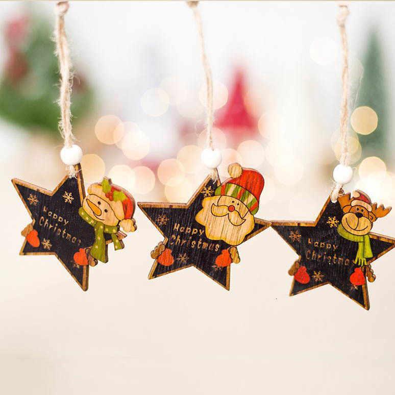 1 Cái Bông Tuyết Hươu Ông Già Noel Cây Giáng Sinh Gỗ Tự Nhiên Treo Trang Trí Quà Giáng Năm Mới Trang Trí Tiệc Cung Cấp 62884
