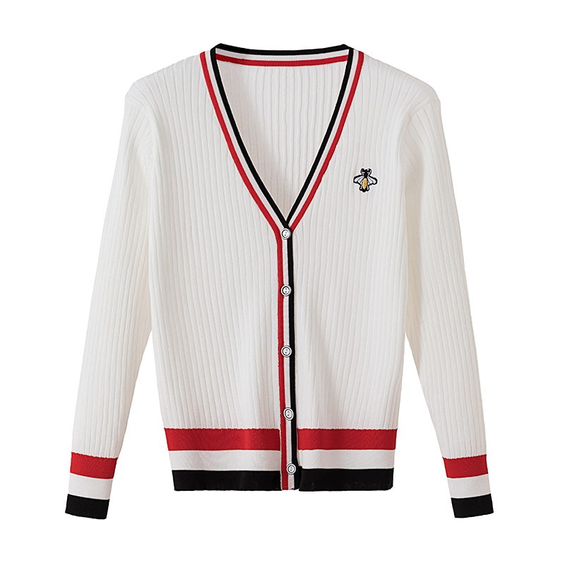 Оптовая продажа новый свитер с вышивкой в виде пчелки кардиган