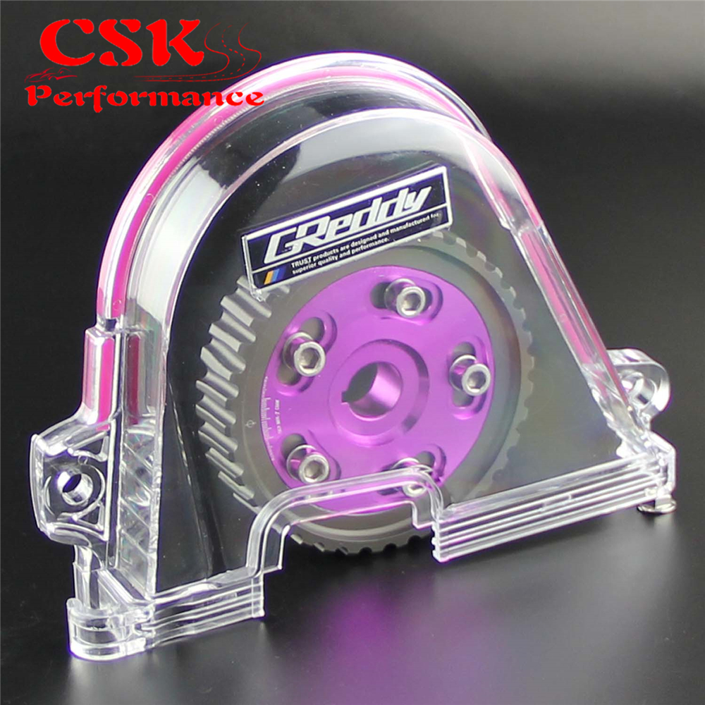 Clear Gear Timing Belt Cover +Cam Pulley Kit For Honda Civic D15 D16C 96 00 Purple/Red/Blue|timing belt cover - title=