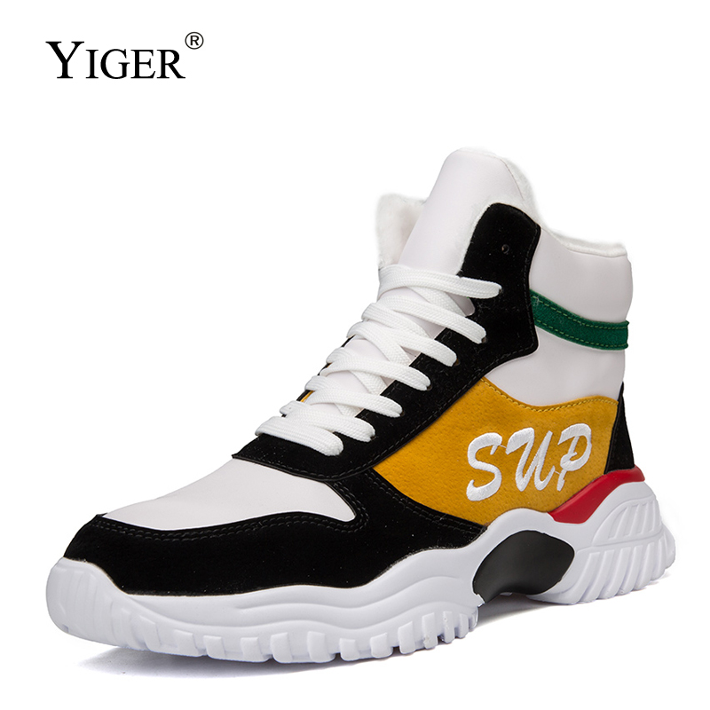 YIGER New Men Snow Boots Winter Sports Man Shoes Thick Cotton Shoes Teenagers Casual Shoes Warm Lace-up Leather Sports Shoes 388