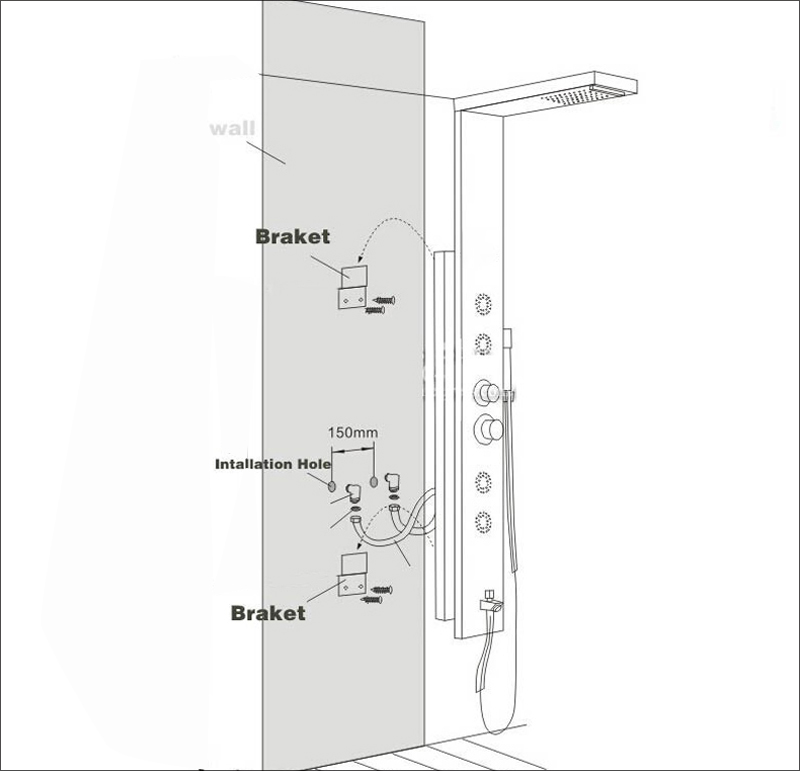 Hb2ff051cf8fd439b8bb2f939a00514c31 LED Light Shower Faucet Bathroom Waterfall Rain Black Shower Panel In Wall Shower System with Spa Massage Sprayer and Bidet Tap