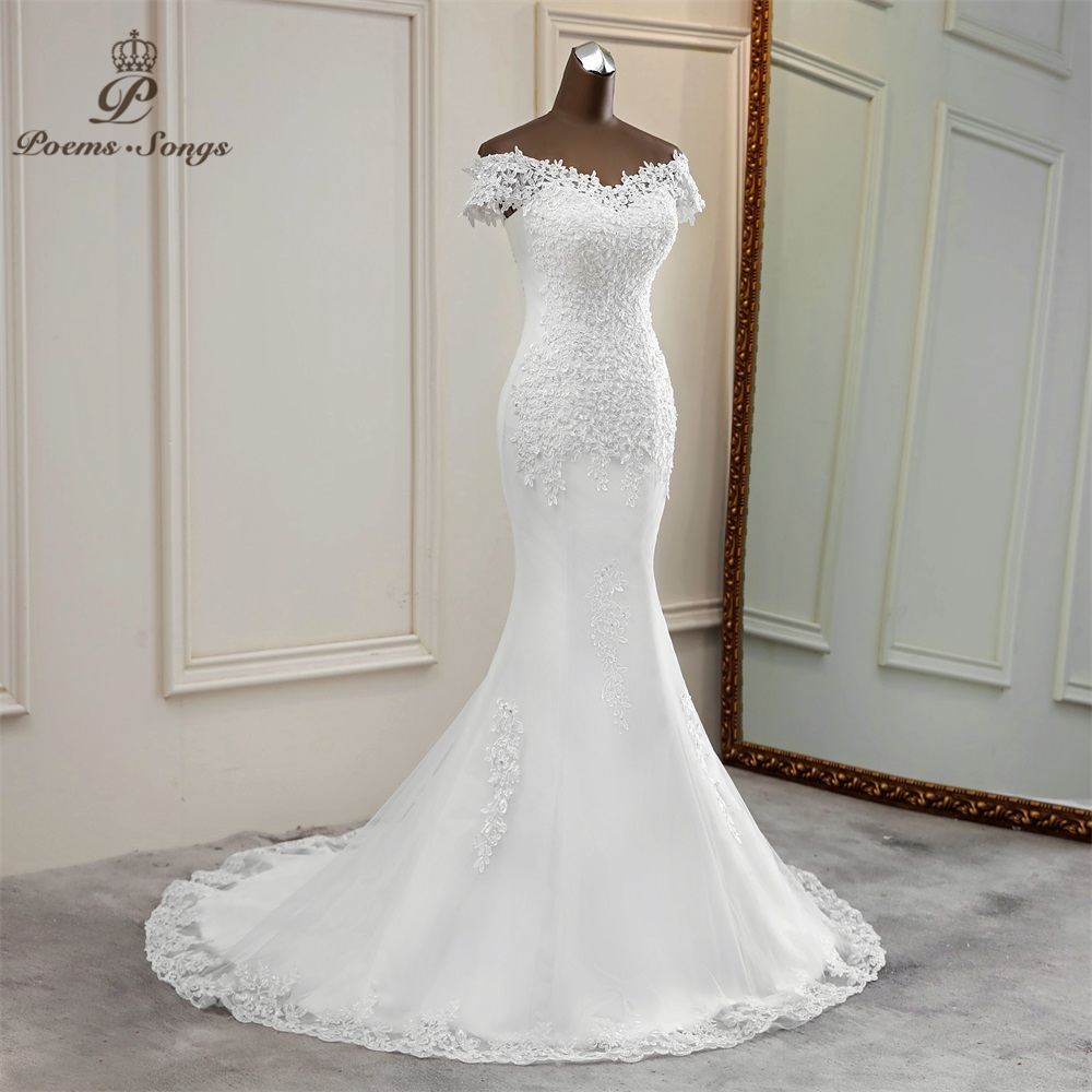 Sexy wedding dress 18 appliques flower robe de mariee elegant bride dress  lace wedding gowns beautiful mermaid bridal gown