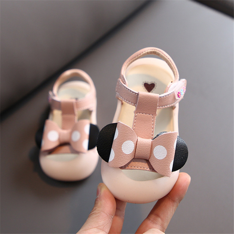 DIMI 2020 Summer Girl Infant Shoes Cute Bow Princess Sandals 0-3 Years Old Baotou Anti-kick Soft Bottom Baby Girls Sandals