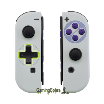 SNES Style Soft Touch Controller Housing (D-Pad Version) w/ Full Set Buttons Replacement Shell for Nintendo Switch Joy-Con