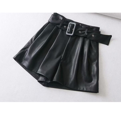 Women Short Black Orange Color PU Leather High Waist with Belt Wide Leg Faux Leather Shorts High Quality Winter Loses PU Shorts