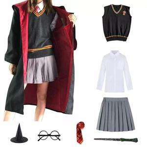 Cosplay Costume Potter Magic Robe Cape Suit Tie Scarf Wand Glasses Pottered Cosplay Clothes Accessories Gift Kids