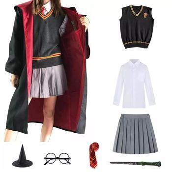Disfraz de Cosplay de Harry Potter, Túnica mágica, traje capa pañuelo para Lazo, varita, gafas, Cosplay en maceta, accesorios de ropa, regalo para niños