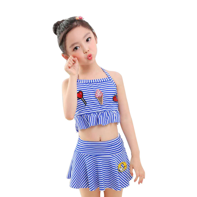 KID'S Swimwear Cute Princess Dress-Two-piece Swimsuits Small Middle And Large GIRL'S Swimsuit Stripes Tour Bathing Suit Wholesal