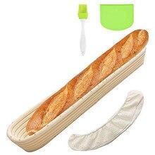 Pão oval baneton proofing cesta baguette cozimento tigela conjunto com raspador de massa linho forro pano escova de silicone para profissional