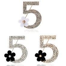 1 adet moda kanal broş Pin kadınlar için broş moda takı inci taklidi yaka iğnesi numarası 5 broş düğün