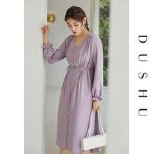Женское шифоновое платье dushu элегантное облегающее с v образным