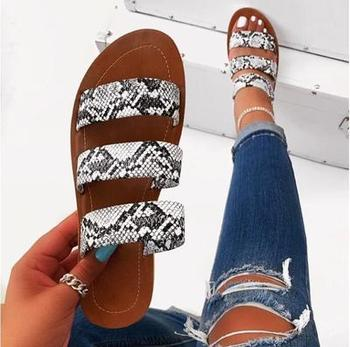 2020 new women slippers fashion wild snake double layer sandals flat bottom ladies beach shoes outdoor travel  flip flop 3