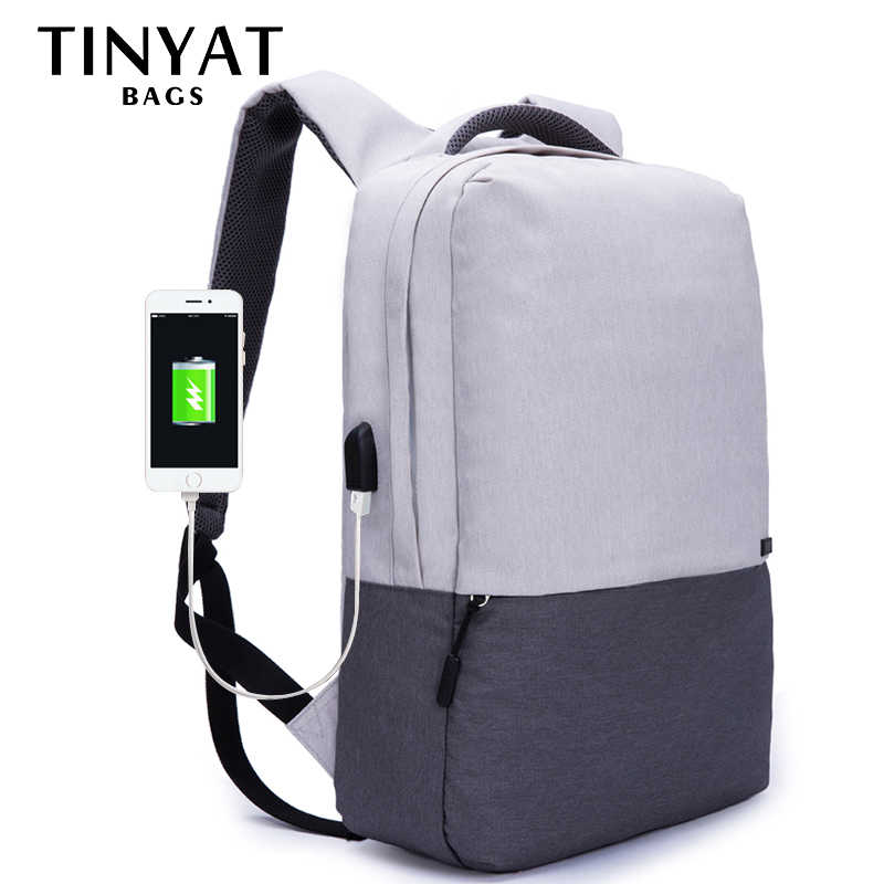 TINYAT Men Laptop Backpack For 15.6 inch USB Charging Backpacks Computer Anti-theft Bag School Backpack Bag Travel Women Mochila