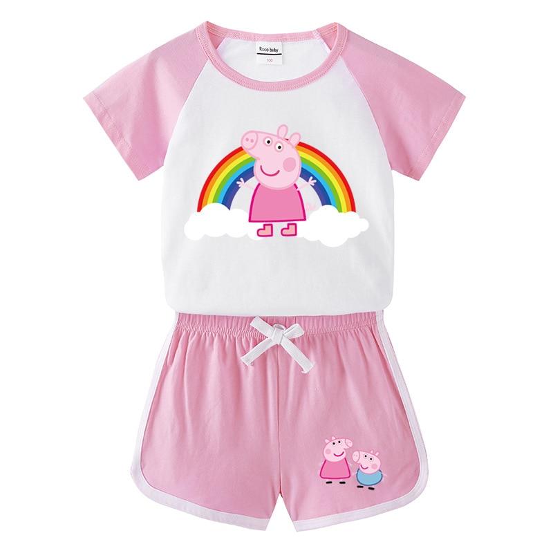 Peppa Pig été enfant en bas âge fille vêtements bébé garçon 1 ensemble enfants vêtements mignons dessin animé gilet vêtements coton sans manches t-shirts costumes
