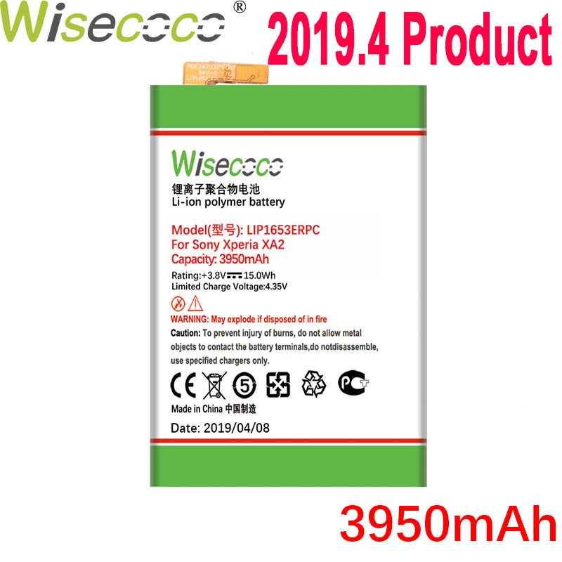 WISECOCO 3950mAh LIP1653ERPC <font><b>Battery</b></font> For SONY <font><b>Xperia</b></font> <font><b>XA2</b></font> Ultra G3421 G3412 XA1 Plus Dual H4213 Mobile Phone With Tracking Number image