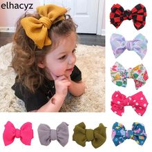 10pcs/lot Arrival 2019 Hot Selling 4.5 Waffle Fabric Hair Bow With Clip For Girls Soft Solid Elastic Kids DIY Accessories