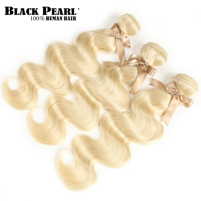 Black Pearl 613 Blonde Bundles With Closure Malaysian Body Wave Remy Human Hair Weave Honey Blonde 613 Bundles With Closure 4