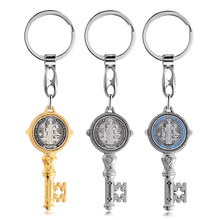 Saint Benedict Key Shape Metal Keychain Jewelry Pendant Catholic Christian Religious Car Pendant Jewelry