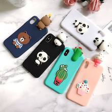 Para coque iphone x iphone 5 5S se caso 3d panda cacto silicone capa para funda iphone 6 s 7 8 plus xr xs max caso etui(China)