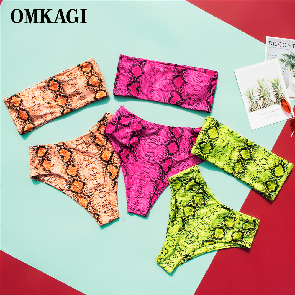 OMKAGI High Waist Bikini 2020 Push Up Bikinis Set Swimming Suit For Women Printed Swimsuit Leopard Bikini Micro Swimwear Women
