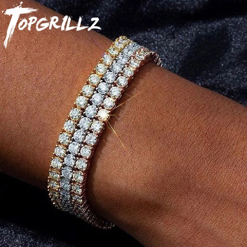 Closeout Deals1-Row Jewelry Tennis-Bracelet Cz Charms Gifts Iced-Out Cubic-Zirconia Mens/women Gold