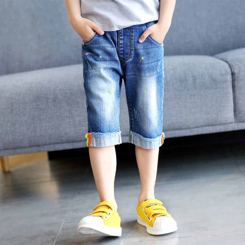IENENS Children Boys Jeans Mid Pants Summer Kids Denim Capris Straight Five  Shorts Baby Boy Casual Cropped Trousers|Jeans| - AliExpress