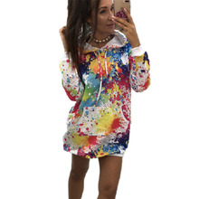 Autunmn Winter Fleece Long Oversized Hoodies Women 2019 Streetwear Loose Hooded Print Long  Sleeve Women's Sweatshirt hooded colorful stripe print long sleeve patterned hoodies