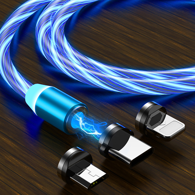 1M Magnetic Flowing Light LED Micro USB Cable Type C Magnet Charger For iPhone 6 6S 7 8 Plus X XR XS 11 Pro Max Fast Cables Wire 1