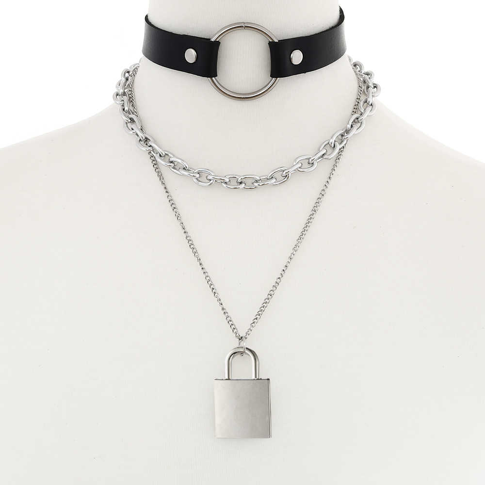 Metalowa kłódka łańcuch naszyjnik kobiety/mężczyźni punk rock goth choker kołnierz zamek wisiorek naszyjnik czarny emo akcesoria biżuteria