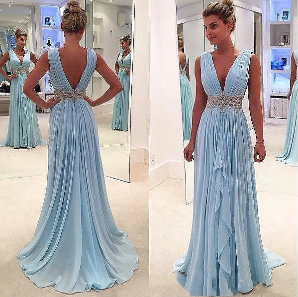 Blue 2019 Prom Dresses A-line Deep V-neck Chiffon Beaded Party Maxys Plus Size Long Prom Gown Evening Dresses