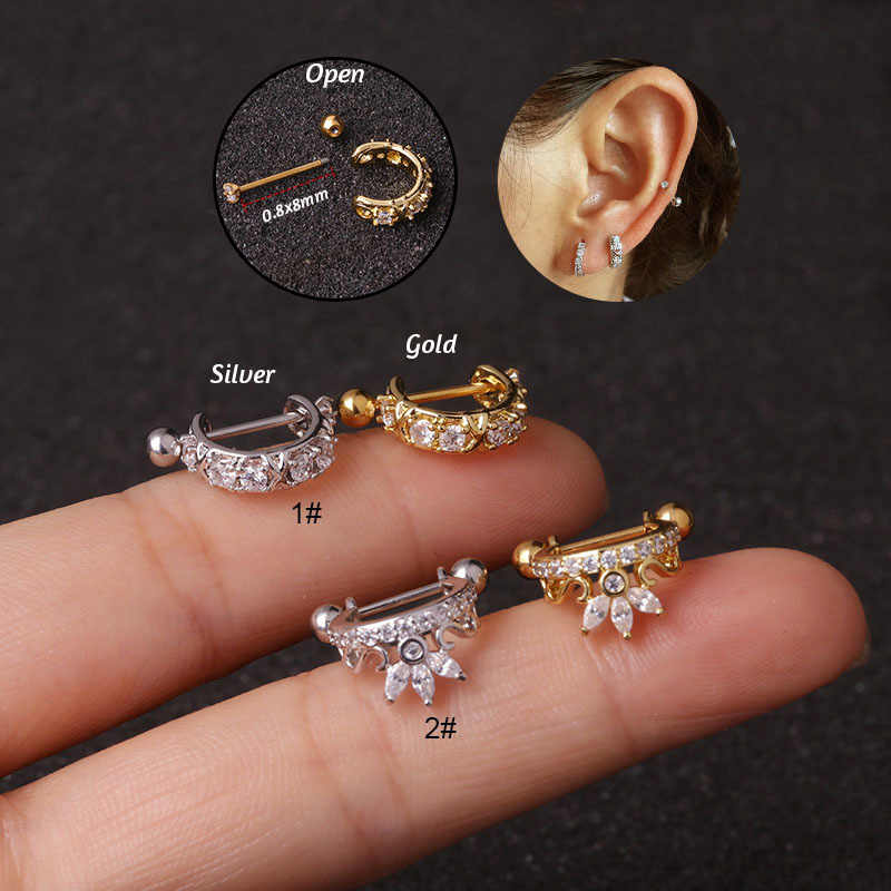 1Pc New Crown Cz Hoop Cartilage Huggie Earring Piercing  Helix Tragus Rook Daith Snug Conch Ear Piercing Jewelry 0.8x8mm
