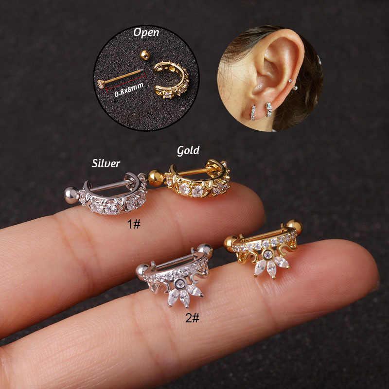1Pc ใหม่มงกุฎ Cz Hoop กระดูกอ่อนต่างหู Huggie Piercing Helix Tragus Rook Daith Snug Conch Ear Piercing เครื่องประดับ 0.8x8 มม.