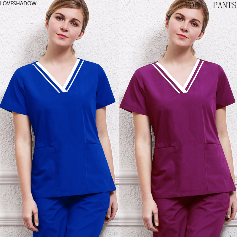 Women's Medical Uniforms V Neck Scrub Top And Elastic Waistline Scrub Pants Short Sleeves Color Blocking Health SPA Set Cotton