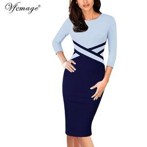 Image 5 - Vfemage vestido ajustado Vintage elegante para mujer, ropa de retazos de colores contrastantes para trabajar, fiesta de negocios, oficina, 1998