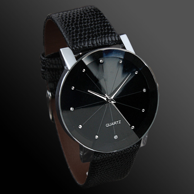 Fashion Casual Men Watches Black Leather Band Quartz Wristwatches Unisex No Brand Watch Cheap Price Free Shipping Montres Homme