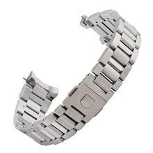 Высококачественные Серебристые черные браслеты для наручных часов из нержавеющей стали с изогнутым концом 22 мм для брендовых стальных часов для мужчин