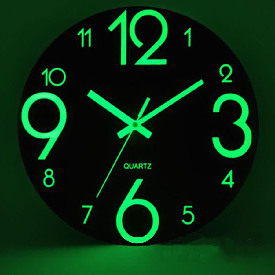 Nordic Wooden Wall Clock Simple Modern Design 3D Decoration Luminous Hanging Clocks Glow In Dark Wall Watch Home Decor Silent