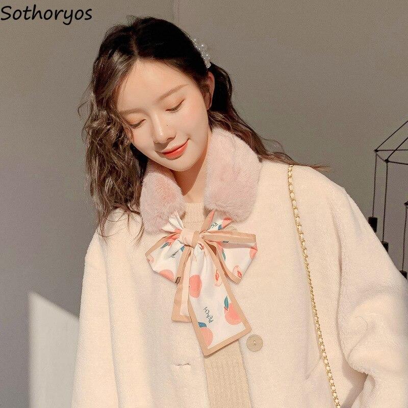 Scarves Women Winter Warm Printed Kawaii Funny Girls All-match Stylish Womens Scarf Korean Style Streetwear Female Patchwork