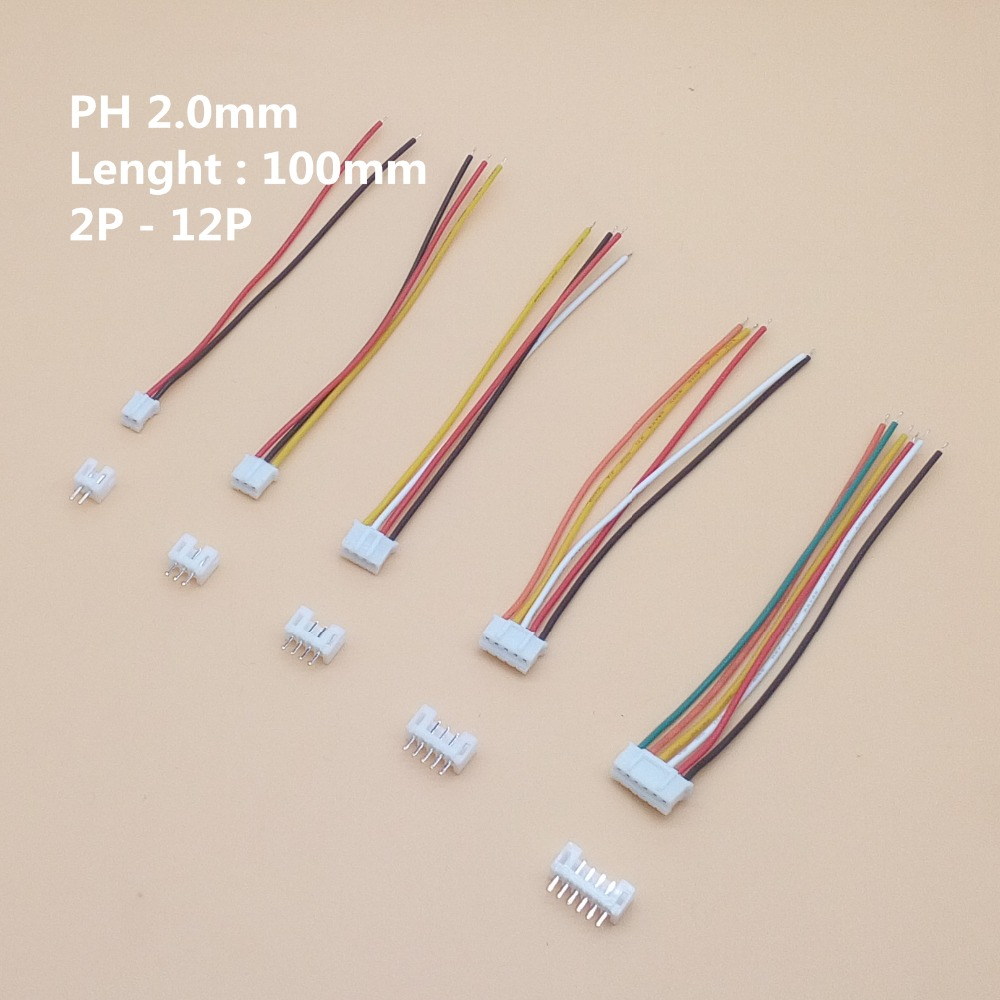 10Sets PH2.0 Mini Micro JST 2.0 PH Male Female Connector 2/3/4/5/6/7/8/9/10-Pin Plug With Terminal Wires Cables 100MM 26AWG 10cm