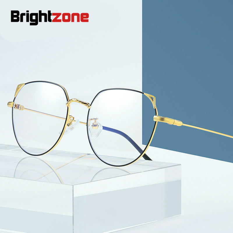 Brightzone Anti Blue Ray Miopia Optik Retro Clear Glasses Men Women Computer Metal Frame Optical Goggles Eyeglasses Prescription image