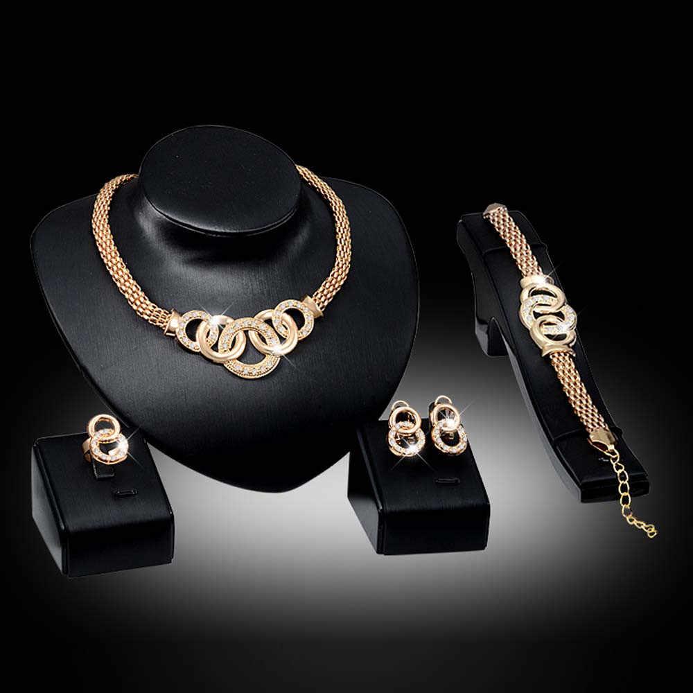 Gold Schmuck Sets Nigerian Hochzeit Afrikanische Perlen Kristall Braut Armband Ring Ohrringe Set Strass Äthiopischen Schmuck parure