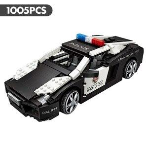Image 3 - לוז טכני מיני אבני בניין רכב Assemable צעצועים חינוכיים לילדים חיפושית Creatored משטרת משאית רכב צעצועי לבנים