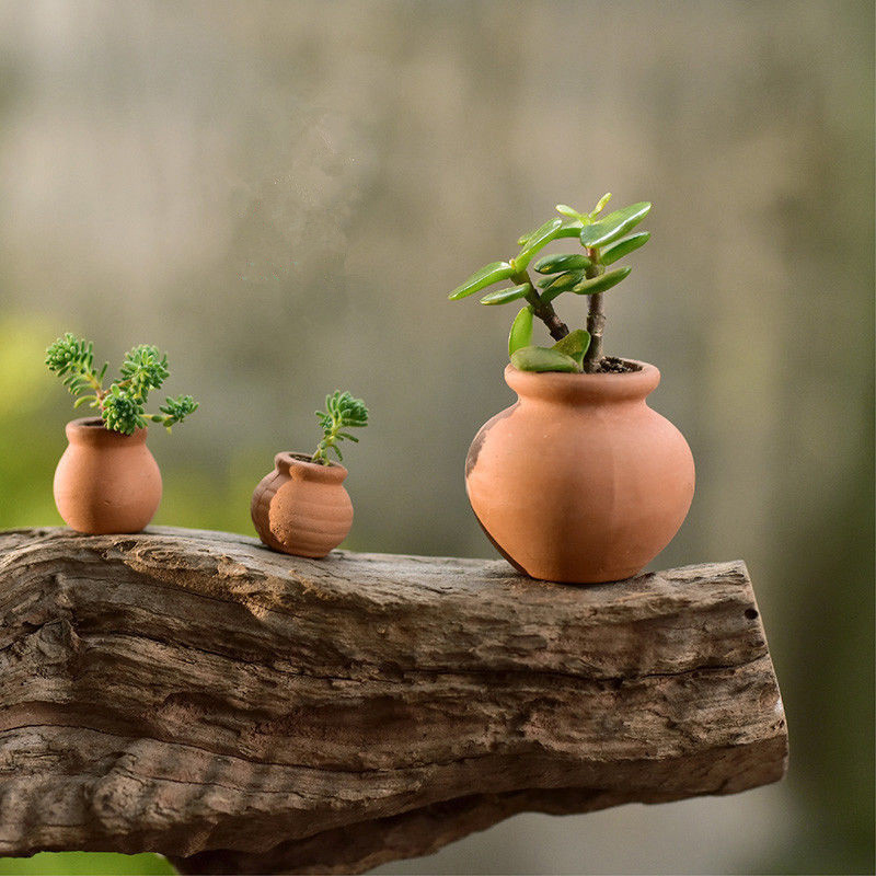 Dollhouse Miniature Set of 3 Clay Flower Pots